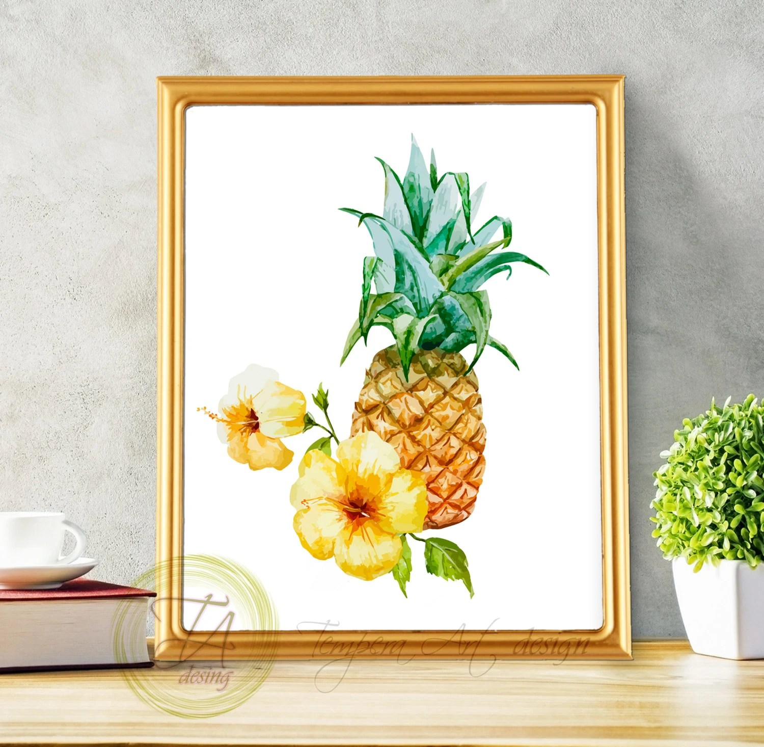 pineapple decorations for kitchen knotty pine cabinets sale print art decor