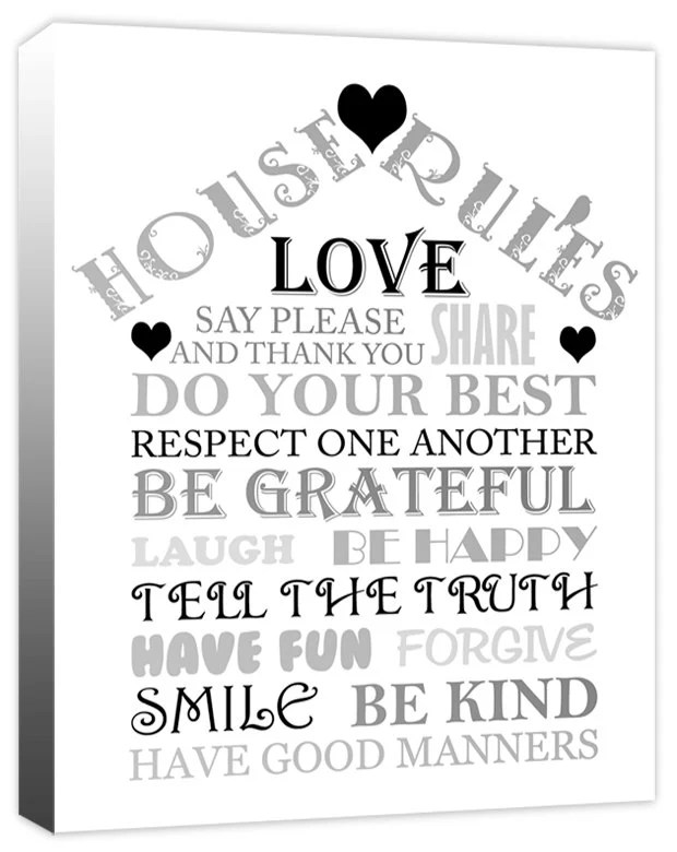 Family House Rules Love Home Quotes Canvas Art Print Picture