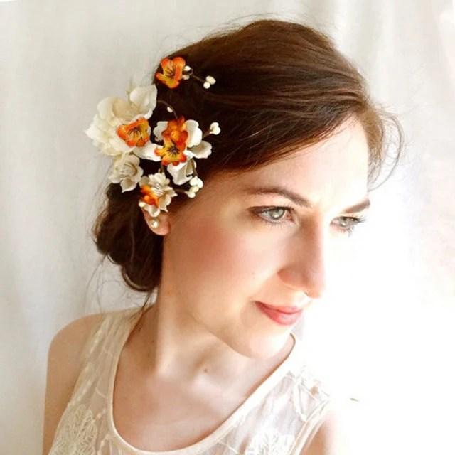 Orange Wedding Hair Accessories Bridal Flower Hair Clip