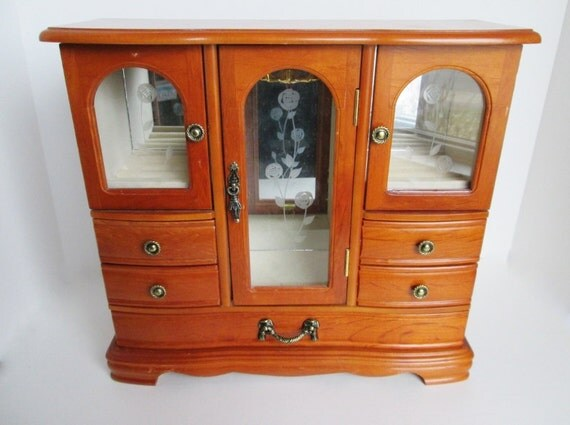 Wood Armoire Chest Tall Jewelry Box Etched Glass Doors