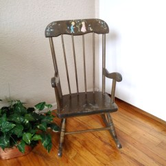 Wooden Childrens Rocking Chair Half Covers For Weddings Vintage Dark Wood Children 39s Mid Century