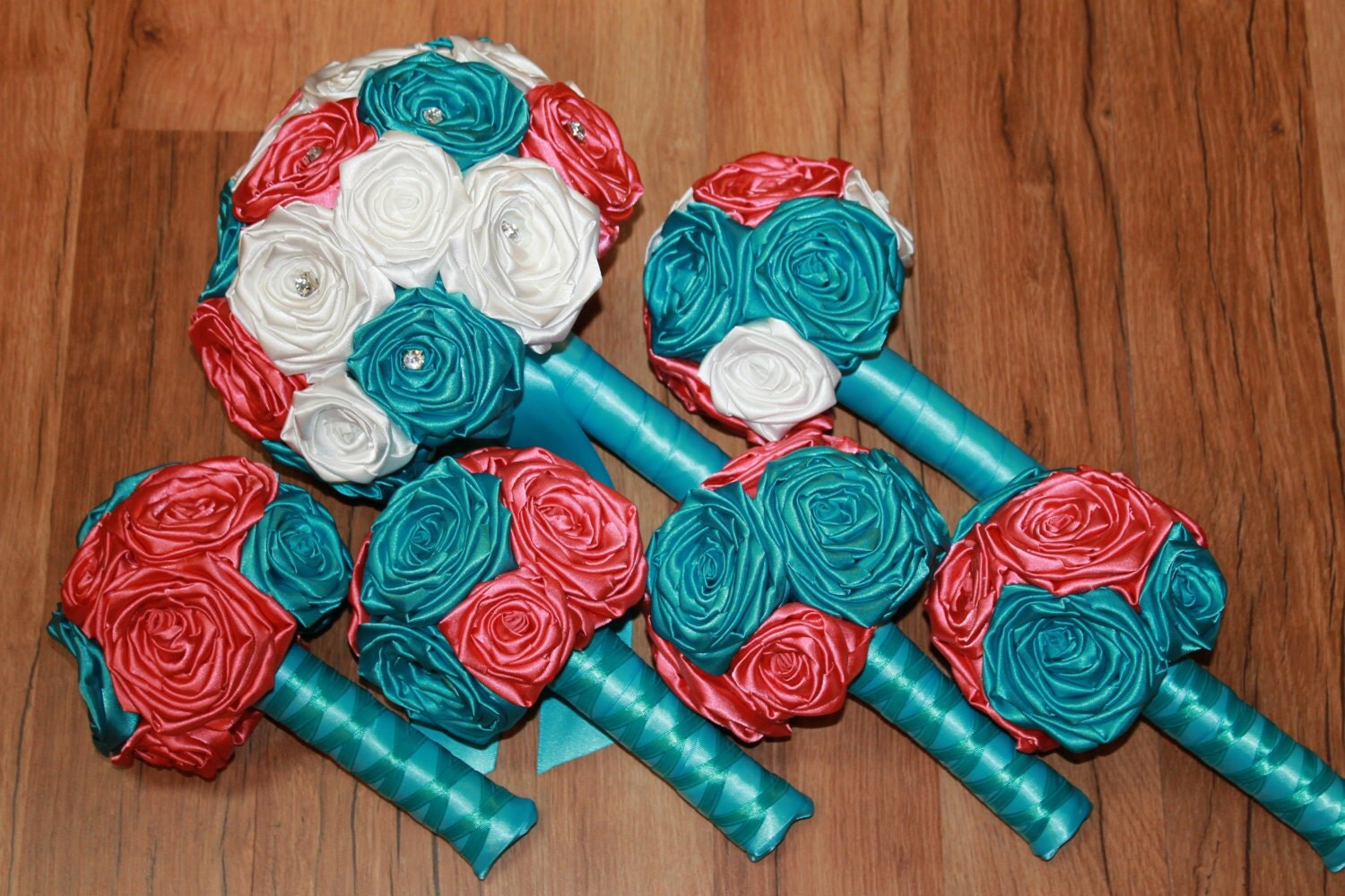 Turquoise and Coral Wedding Bouquet Set Turquoise Wedding