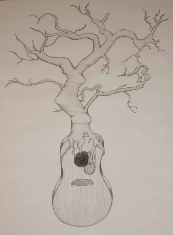 Items similar to Acoustic Guitar and Tree Morph Drawing