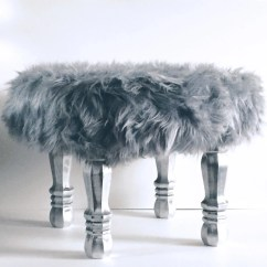 Vanity Chair White Fur Proma Dental Grey Faux Stool Covered Accent Piece Regency