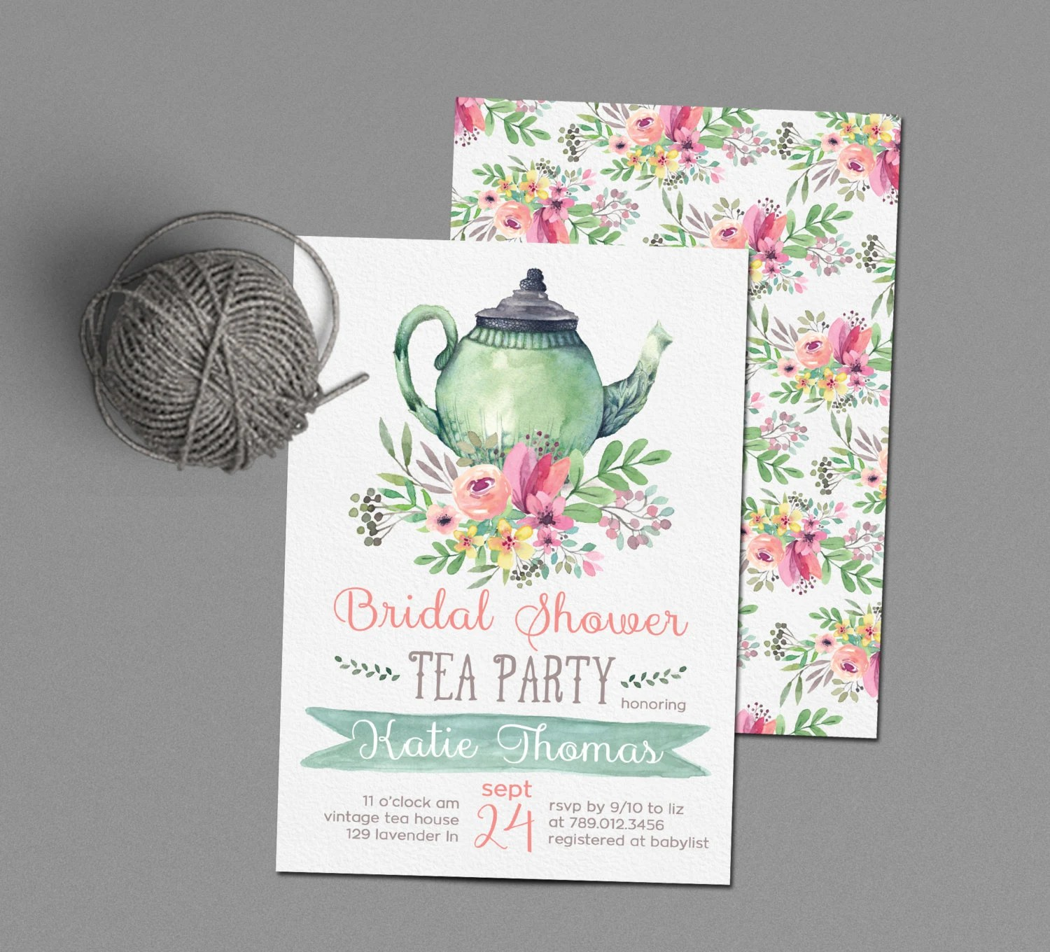 Tea Party Bridal Shower Invitations Wedding Shower Invite