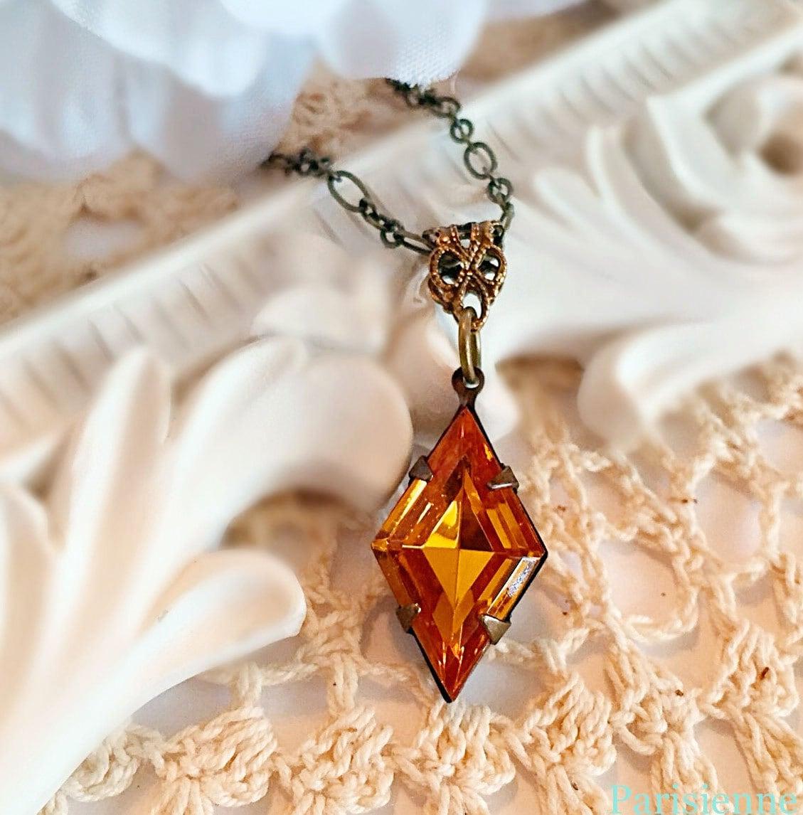 Art Deco Jewelry Set Golden Topaz Art Deco by ParisienneGirl