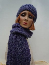 Purple Hat Scarf Set Hat and Scarf Set Purple Crochet Set