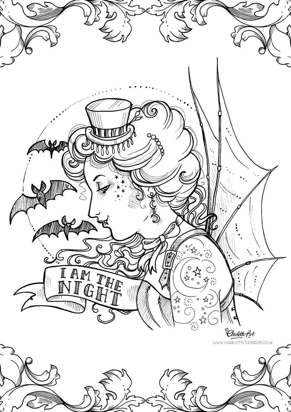Adult Colouring Page. Steampunk Gothic Victorian Vampire