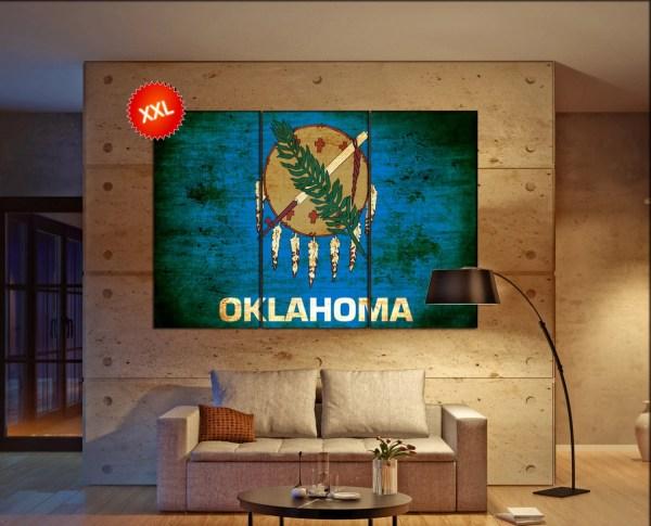 Oklahoma State Flag Canvas Art Print Large Wall