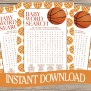 Basketball Baby Shower Word Search Game Card Instant
