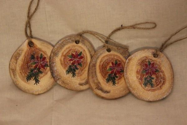 Aspen Log Slices Christmas Ornaments Wood