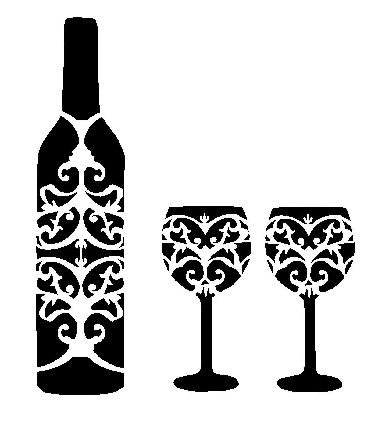 12 12 Wine Bottle And Glass S Stencil
