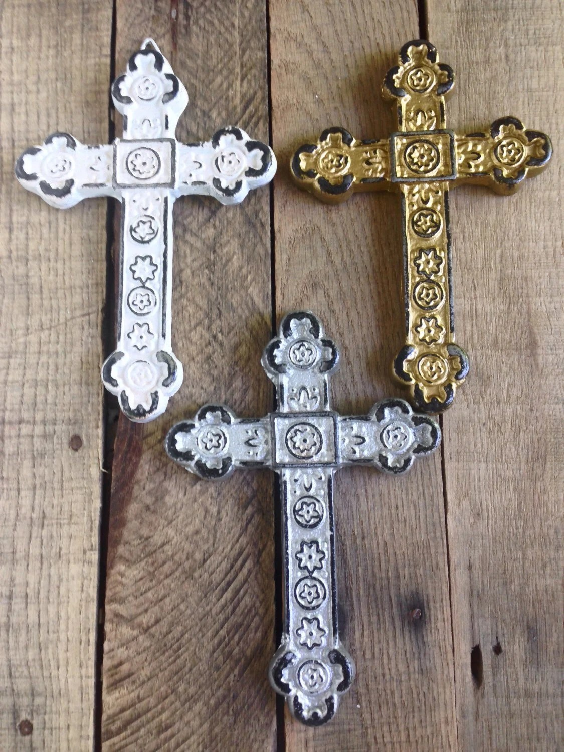 Set of 3 Decorative Crosses Wall Cross by ShineBoxPrimitives