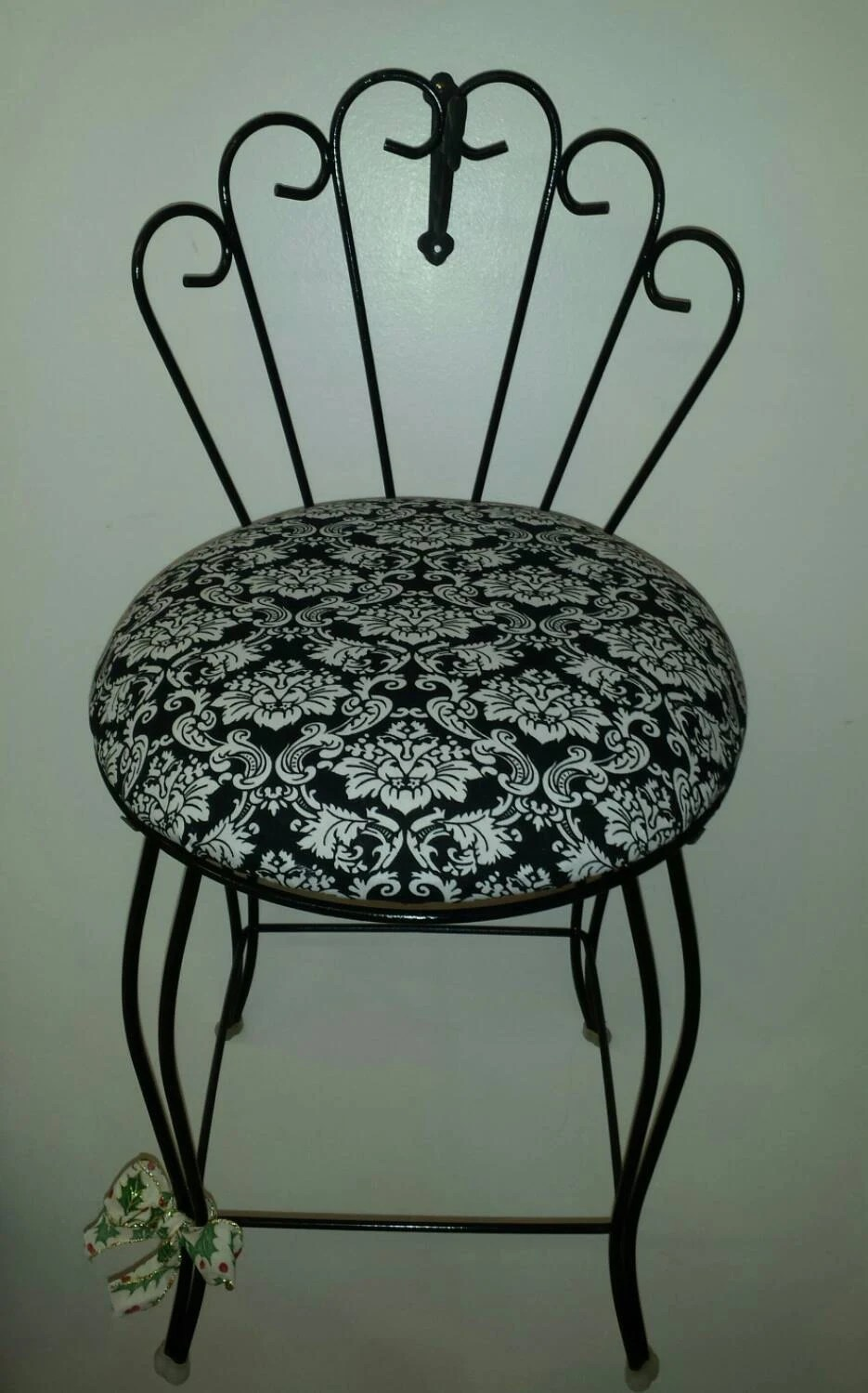 Black Vanity Chair With A Black And White Seat 1950 S