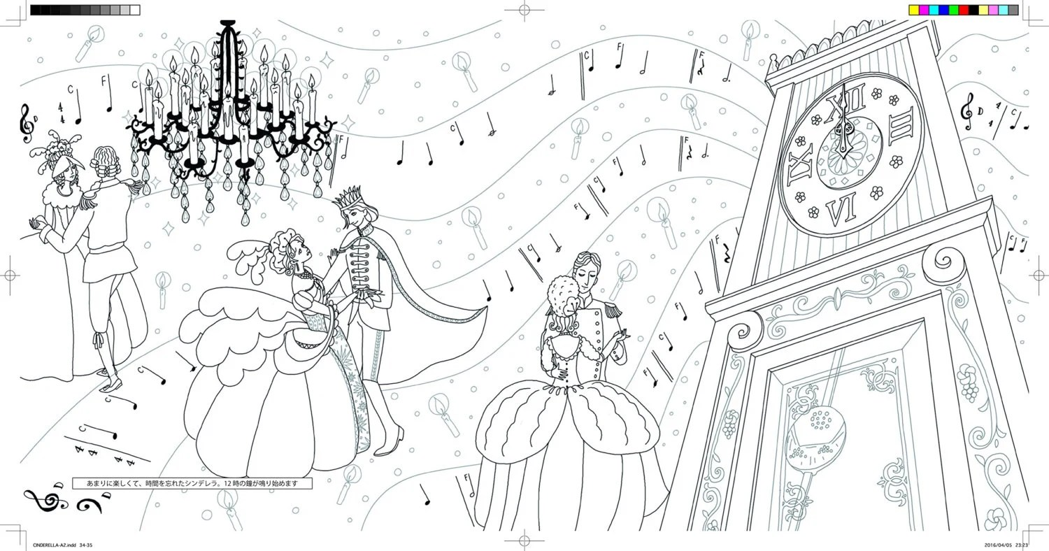 Cinderella story Coloring Book for adult by zenyoji by