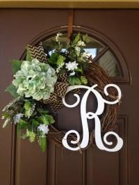 Year Round Wreath Front door wreath with initial Front Door