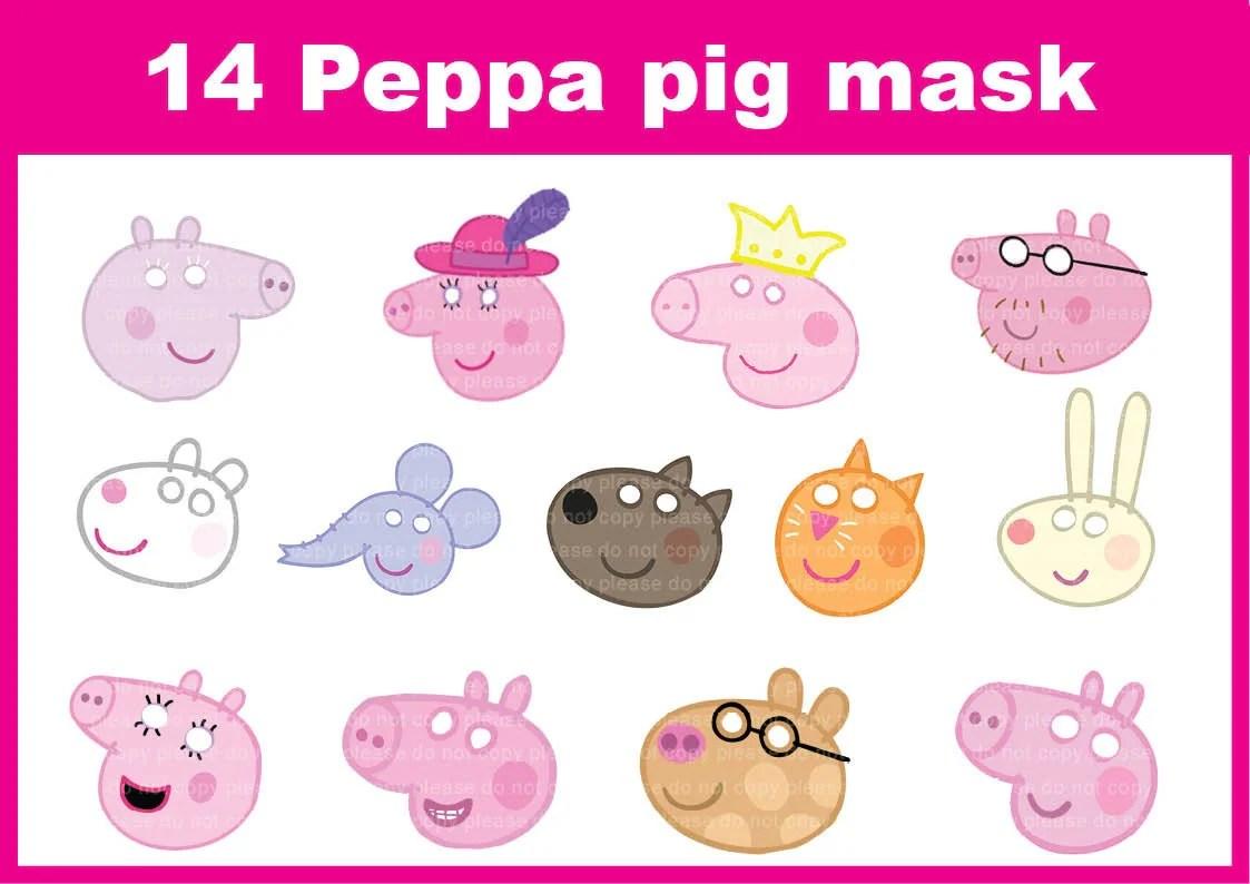 Instand Dl Peppa Pig Printable Masks 14 Masks Photo