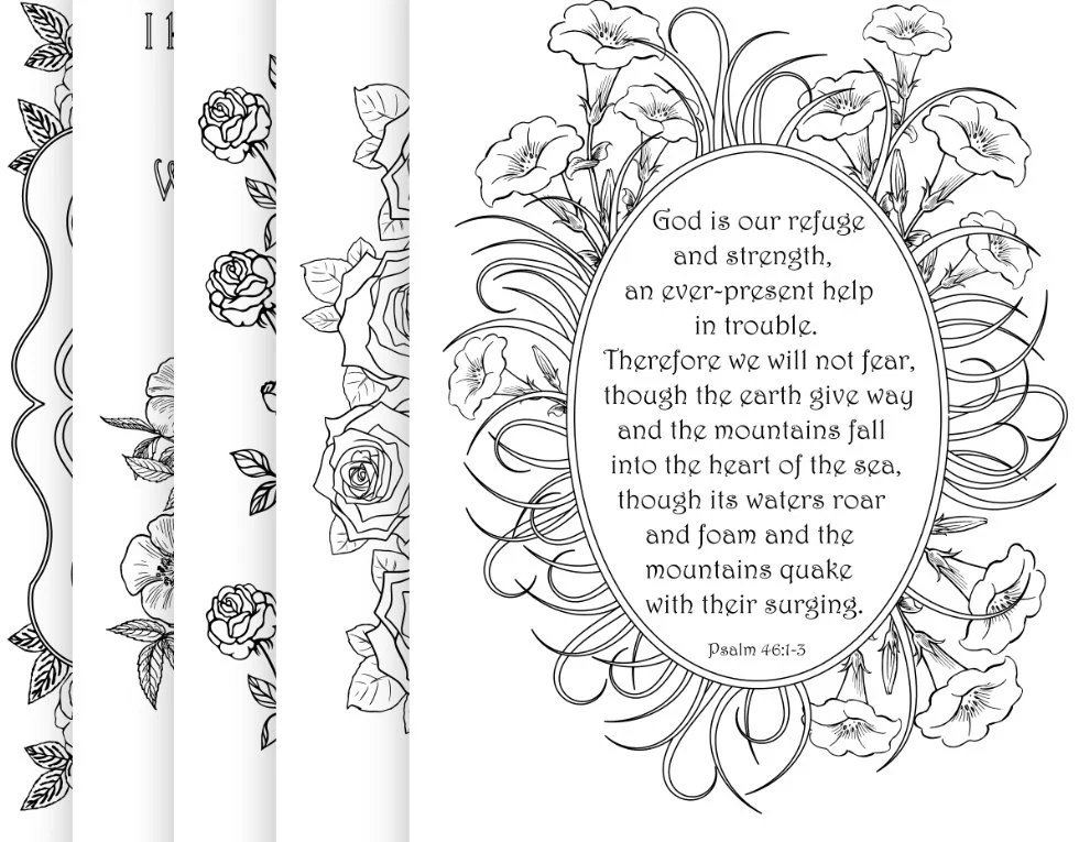 5 Bible Verse Coloring Pages Pack 6 Simple by