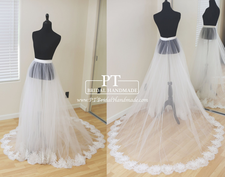 Detachable Bridal Skirt Wedding Overskirt Removable Tulle