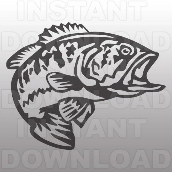 Fishing Svg File Bass Largemouth Cutting