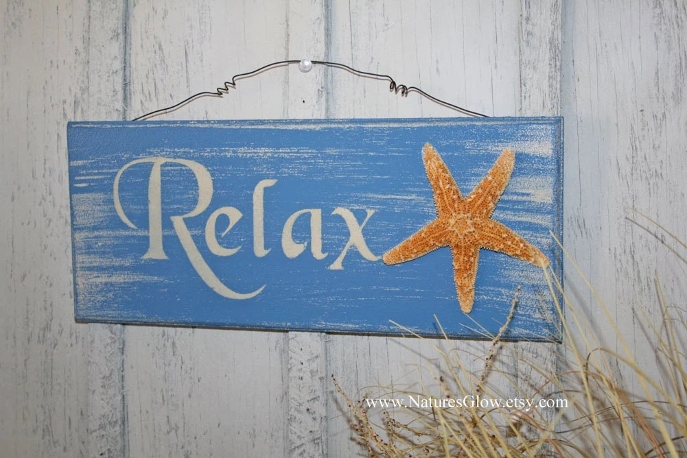 Relax Sign Tropical Sign Starfish Decor Beach Sign Beach