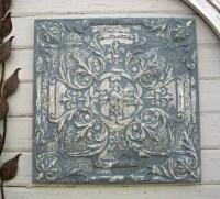 Antique Ceiling Tin Tile FRAMED Large blue metal wall art.