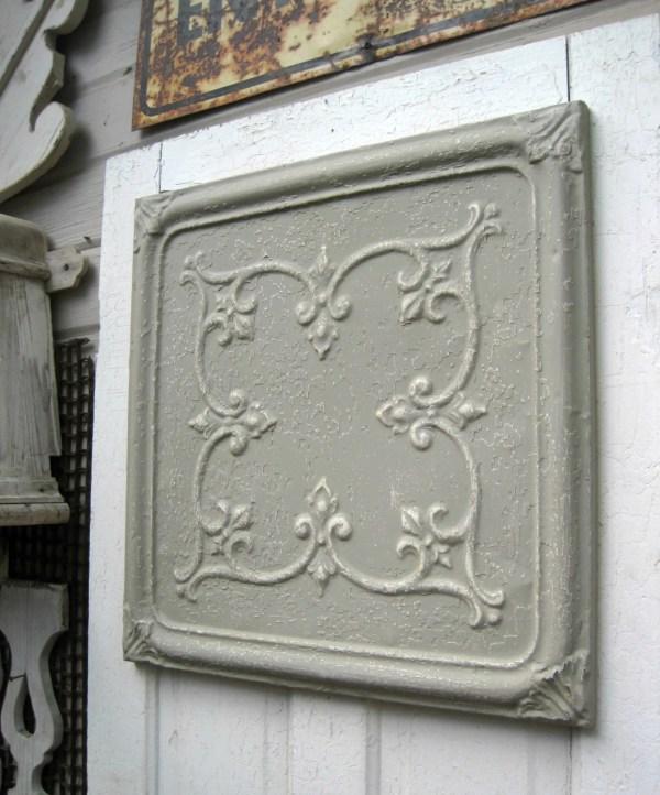 Framed Tin Ceiling Tile. 2'x2' Antique Circa 1910