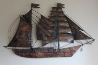 Reduced Vintage Mid Century Modern Metal Wall Art Tall Ship