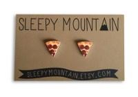 Pizza Earrings Pizza Slice Stud Earrings by SleepyMountain