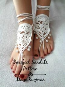 Crochet Pattern Lacy Barefoot Sandals Pdf Patten