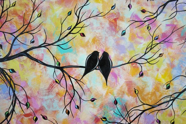 Commission Large Abstract Love Birds Acrylic Painting Tree