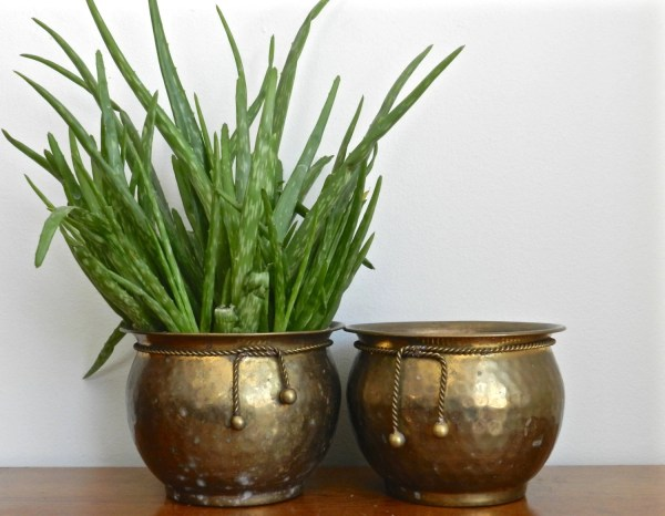 Vintage Brass Planter Set Flower Pots Hammered