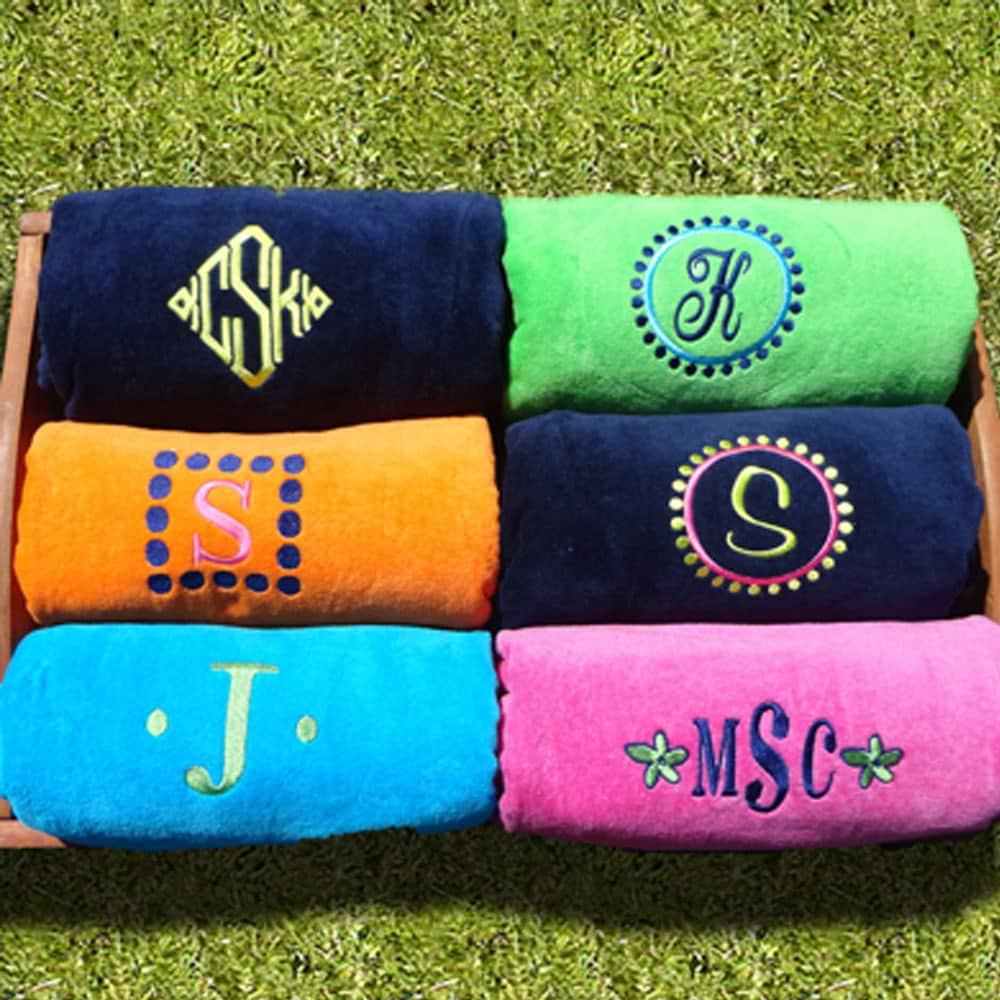 monogrammed pool towels