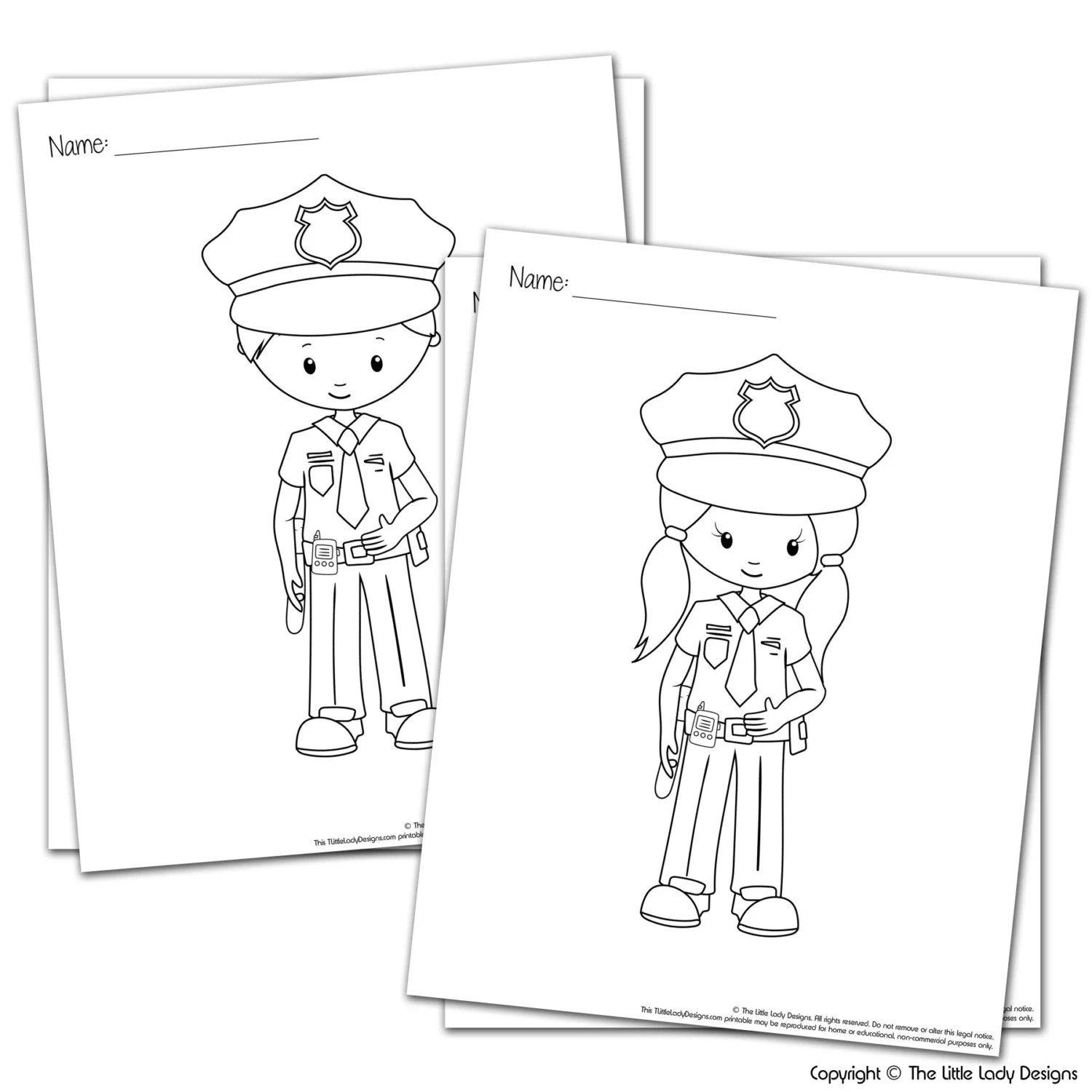 SALE Police Kids Coloring Pages Bundle Printable Coloring