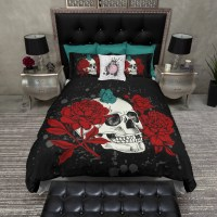 Featherweight Skull Bedding Black Red & Teal by InkandRags