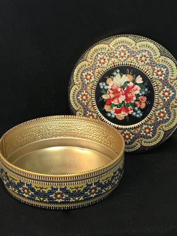 Colorful Vintage Round Metal Storage Container Tin Floral with