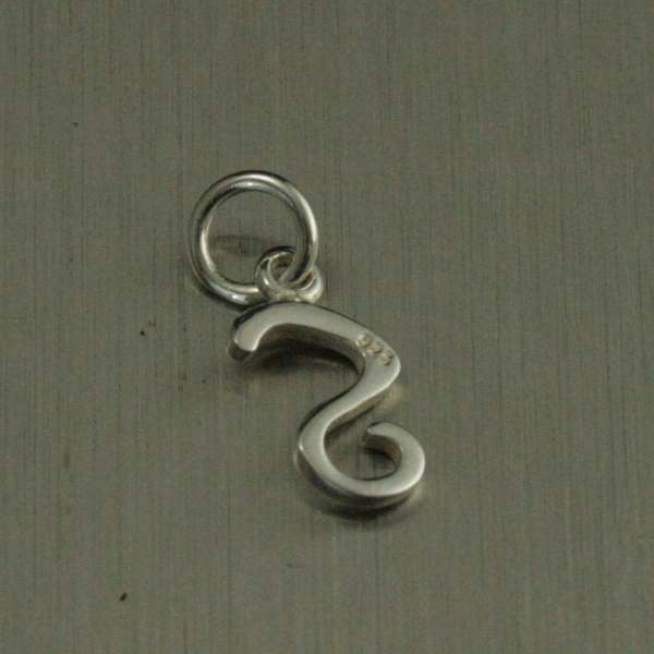 Sterling Silver Cursive Initial Charm-fancy Letter