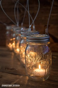 Set of 5 Hanging Mason Jar Candle Holders Farmhouse Wedding