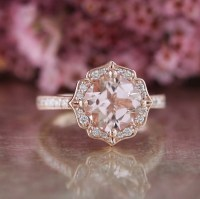 Vintage Floral Morganite Engagement Ring in 14k Rose Gold