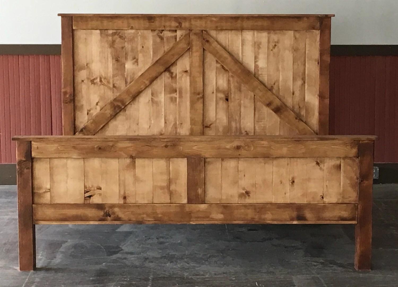 Rustic King Size Farmhouse Bed W Platform