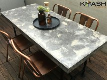 Polished Concrete Dining Table Patio Outdoor Industrial