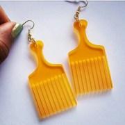 afro pick earrings natural hair