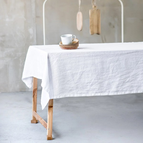 White Linen Tablecloth. Washed Large Handmade