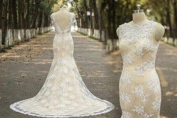 Vintage Wedding DressHandmade Lace Mermaid Wedding By