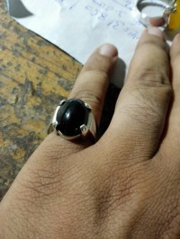 Mens Black Real Aqeeq/ agate ring Sterling Silver 925 Unheated