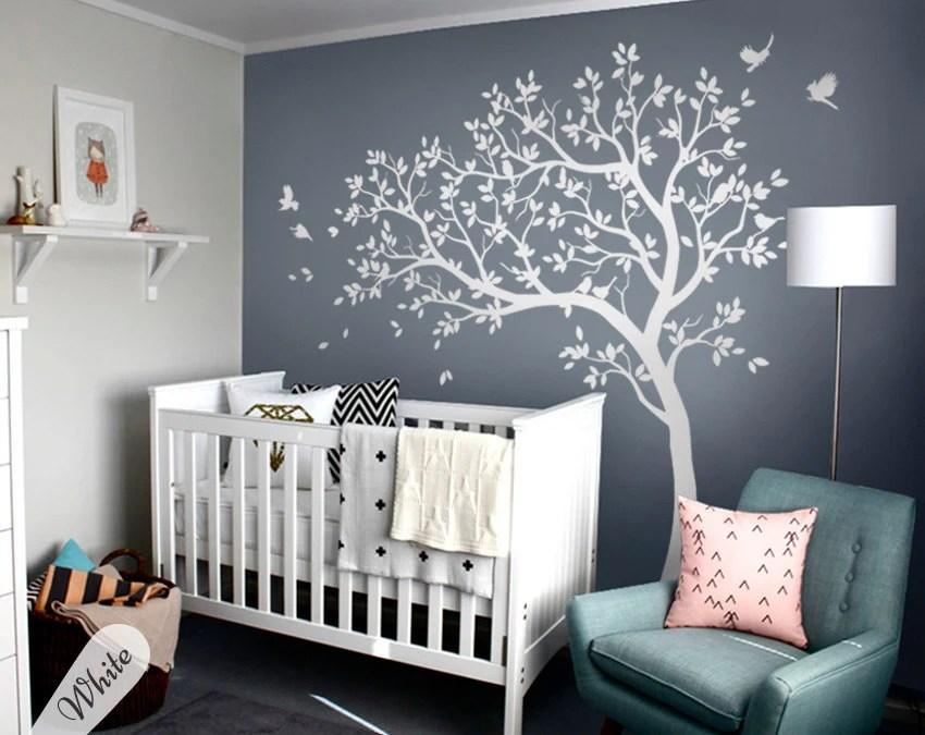 Girl Nursery Wallpaper Uk Stickers Arbre Blanc Stickers Arbre Grande Cr 232 Che Avec Oiseaux