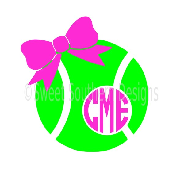 Monogram Tennis Ball With Bow Svg Instant Design