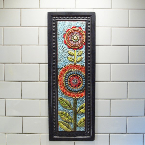 Tile Wall Art Mosaic Two Blossoms Colorful