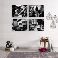 Chanel Makeup Bathroom Decor Set of 4 black and white canvas