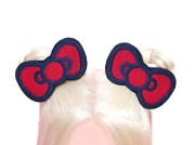 kitty hair bow red